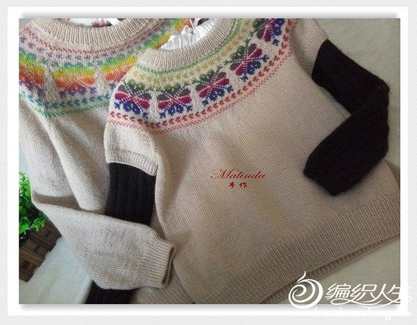 母女同款棒针提花毛衣