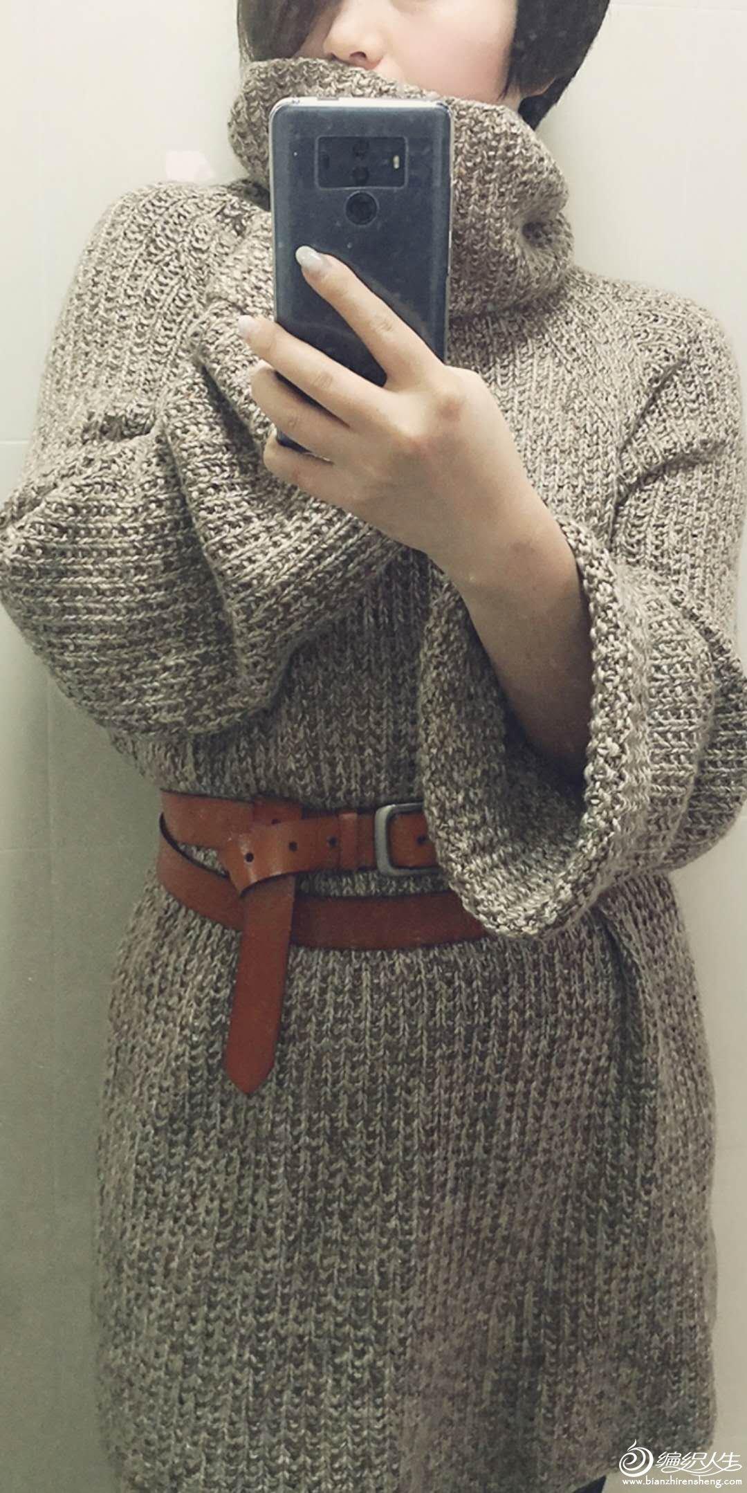阔袖宽松棒针毛衣