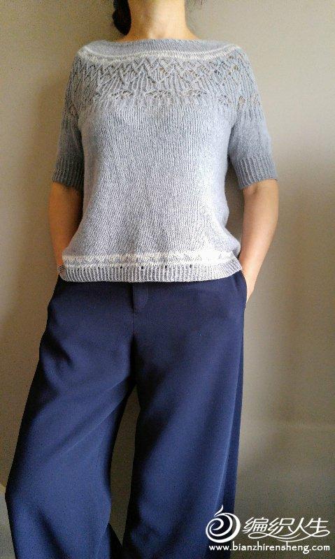 从上往下织中袖毛衣
