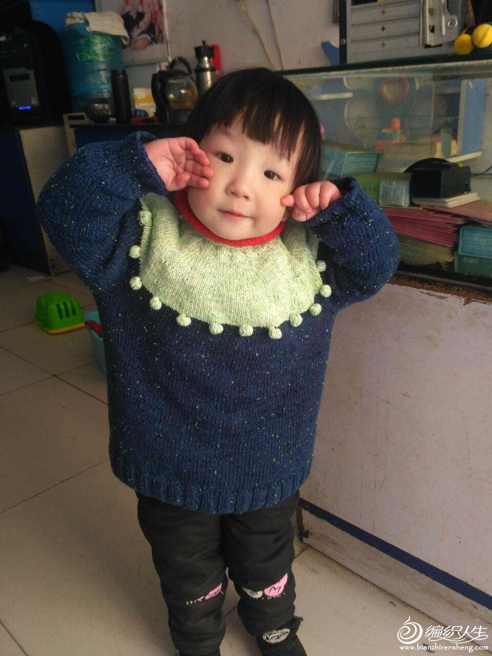 萌宝宝棒针拼色毛衣