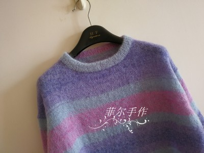 【菲尔手作】光谱 --- 文艺范小清新宽松马海条纹衫 - 菲尔 - 菲尔的编织博客
