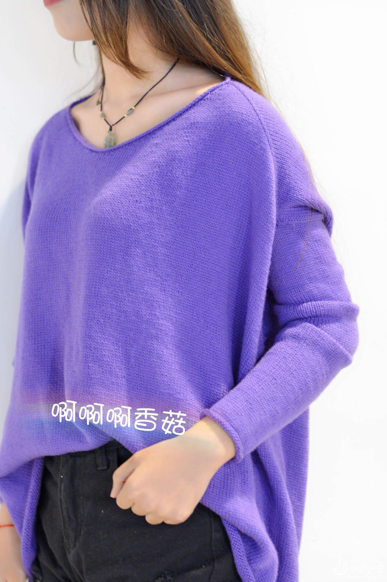 女士棒针自带袖毛衣