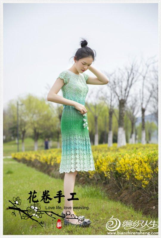 段染钩花连衣裙
