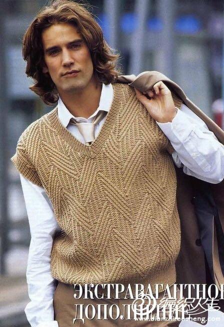男士棒针V领毛衣