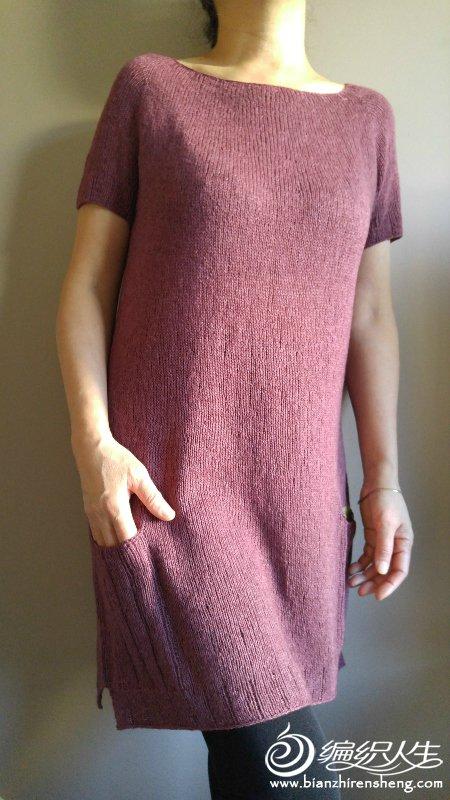 从上往下织短袖连衣裙
