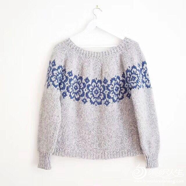 从上往下织提花毛衣