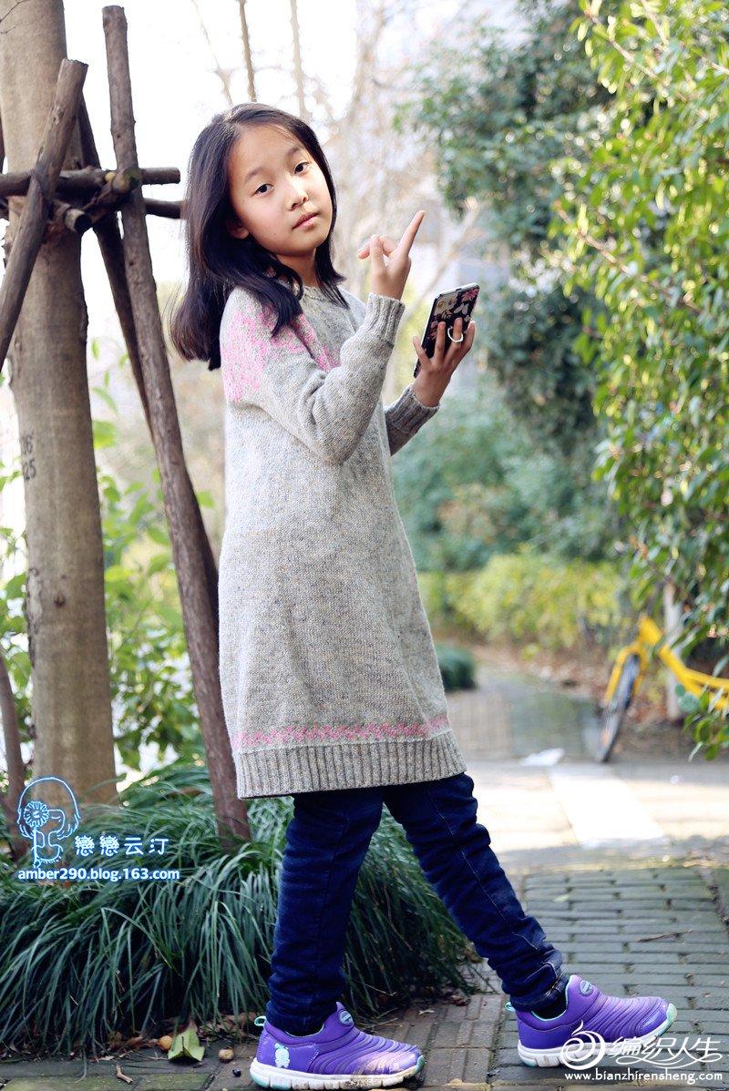 儿童棒针长袖毛衣