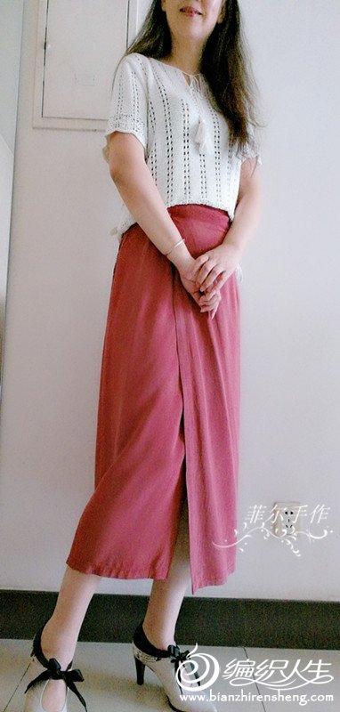 女士春夏棒针短袖衫