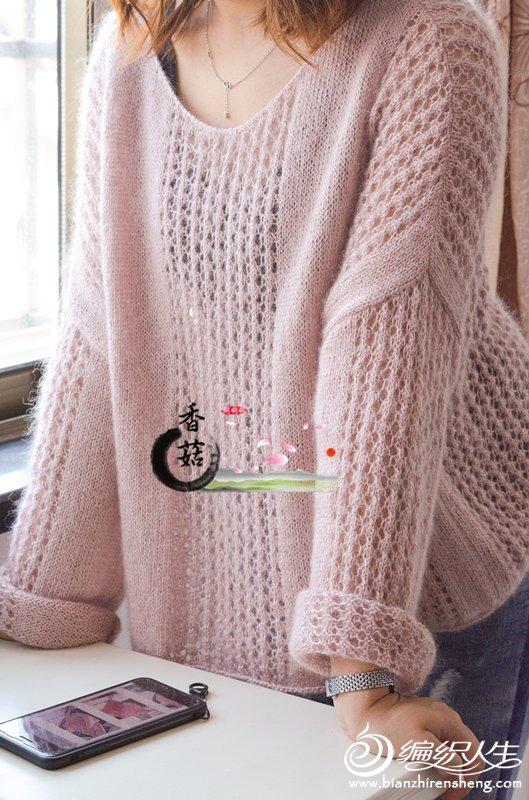 女士棒针镂空套头毛衣