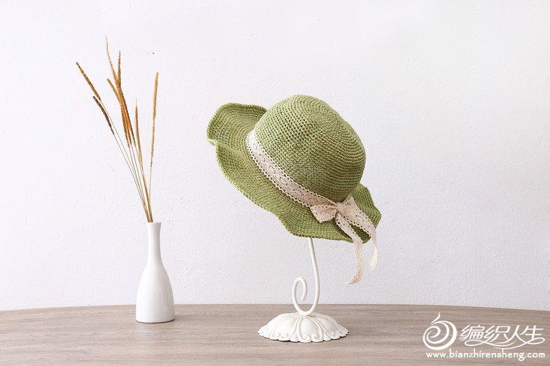 丝带钩花蕾丝帽子