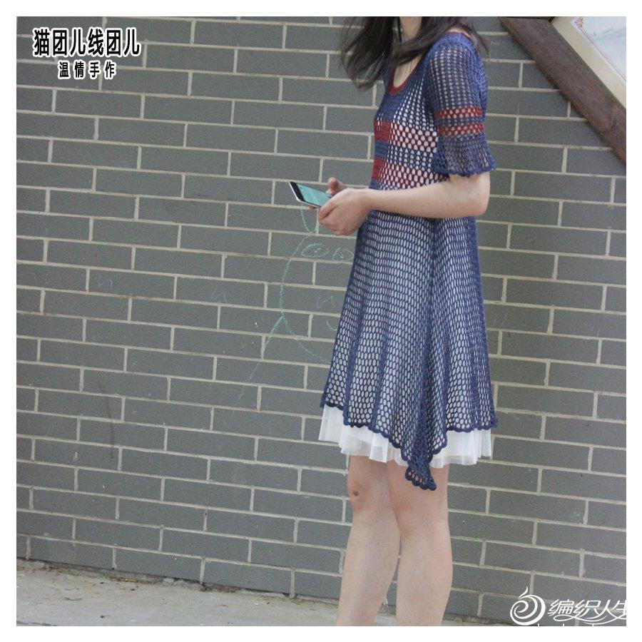 短袖钩针连衣裙