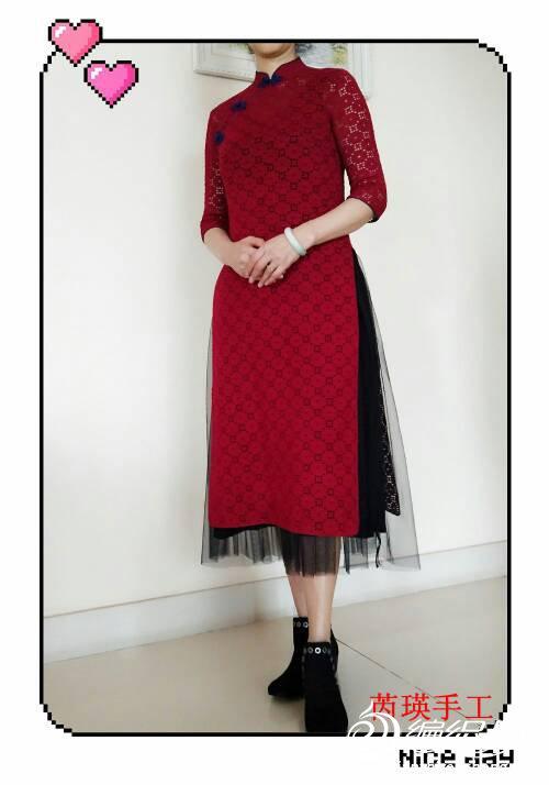 钩针斜襟旗袍