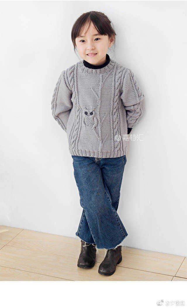 儿童猫头鹰毛衣