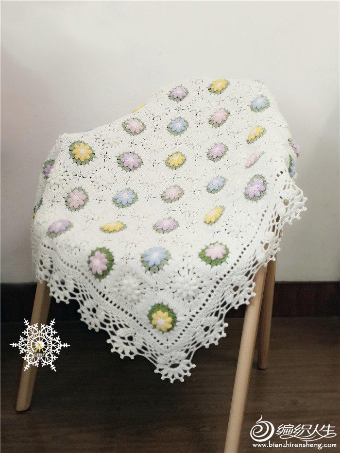 毛线钩花毯