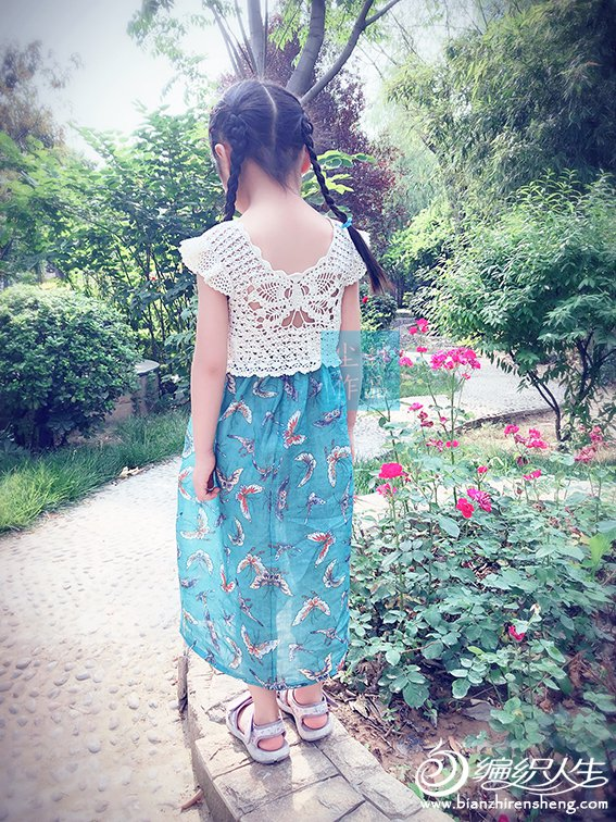 蝴蝶图案钩布结合童裙