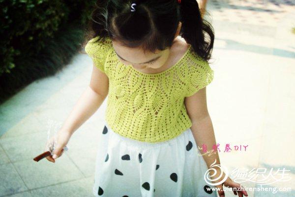 儿童钩针叶子花罩衫