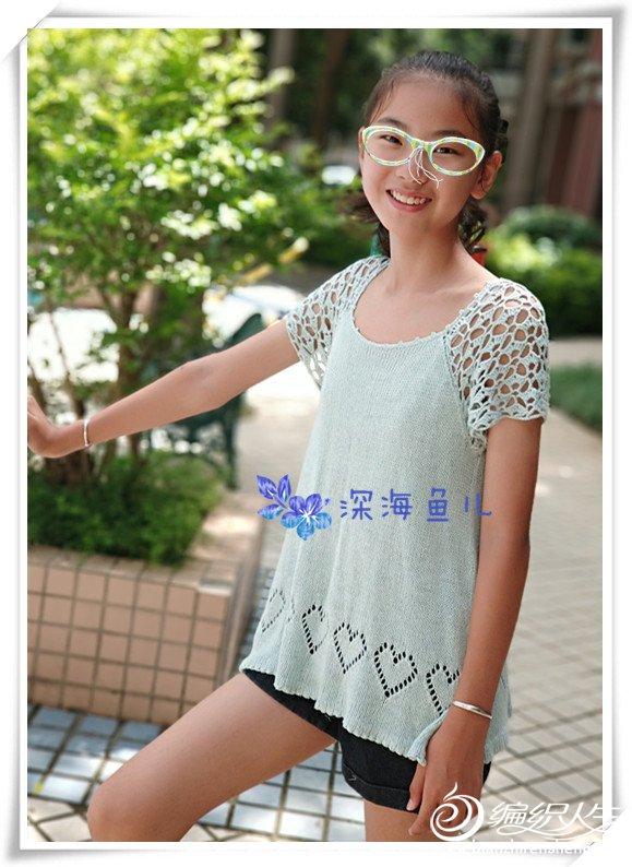 钩织结合儿童短袖