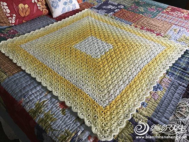 (彩虹)钩针毯子   简单,却可以千变万化的一款贝壳花样钩针图解 r网