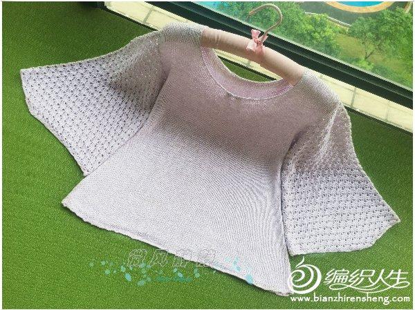 钩织结合套头毛衣