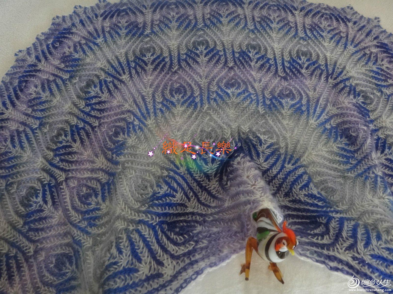 双色编织棒针叶子花披肩