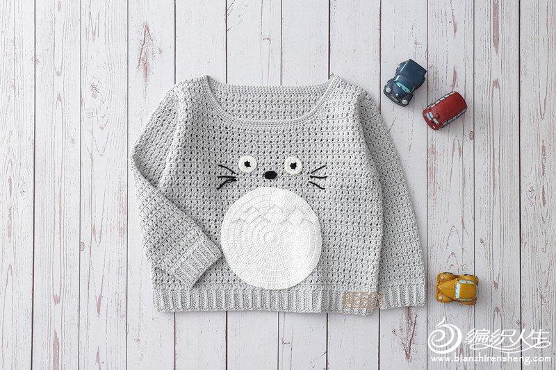 男女宝宝都适合的儿童钩针卡通图案长袖套头毛衣-编织