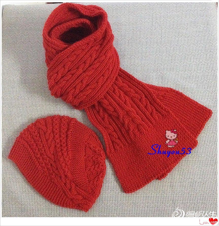 红色毛线围巾帽子