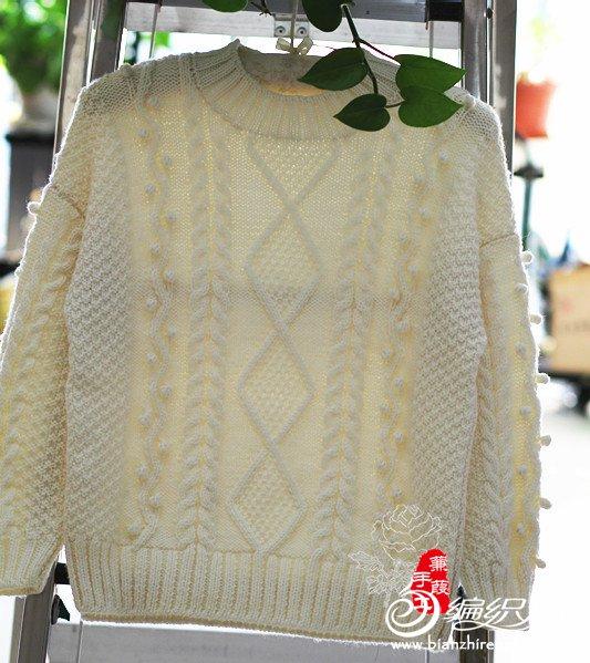 菱形花棒针羊毛衫