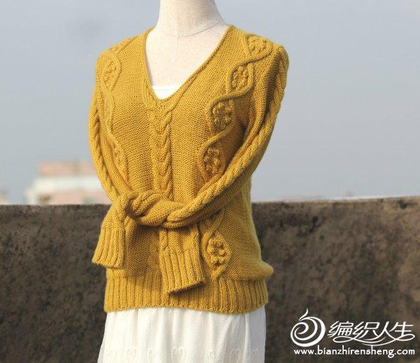 长袖棒针麻花毛衣