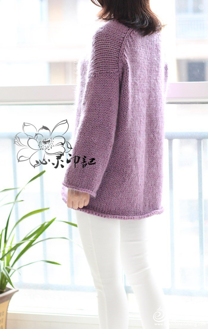 极简棒针水袖毛衣