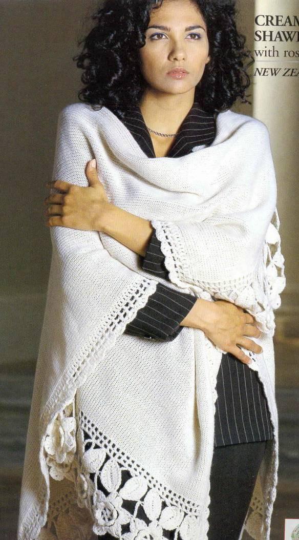白色披肩-有图解_(棒针)女装图库_编织人生论坛