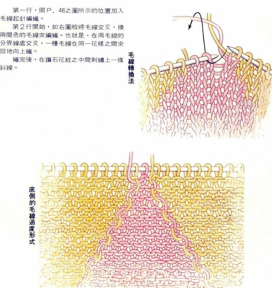 也可以这样配色但是要同时用上好几股线织起来比较麻烦。
