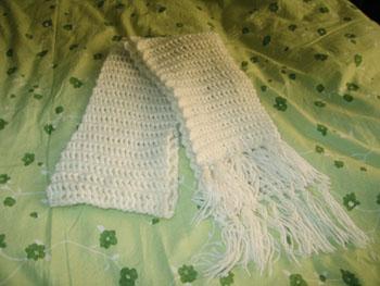 第一次编织成功的围巾,好开心啊。