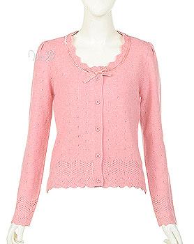 粉红低领毛衣