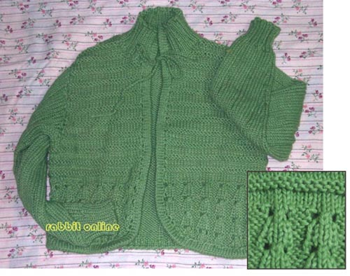 绿色粗针开衫