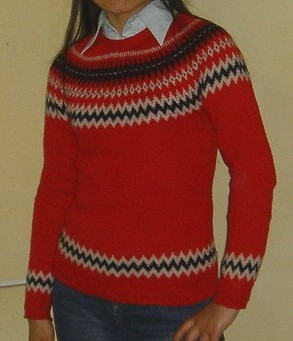 红色镶色毛衣