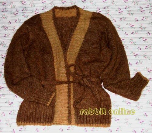 棕色马海毛系带开衫