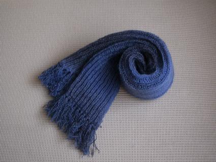 给我公公用渐变全羊毛线织的双元宝针围巾