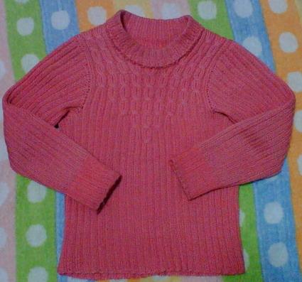 第一次织的红色毛衣