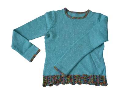 这也懒人方法织的,穿上很好看,就是有点洗小了,现在压箱底了