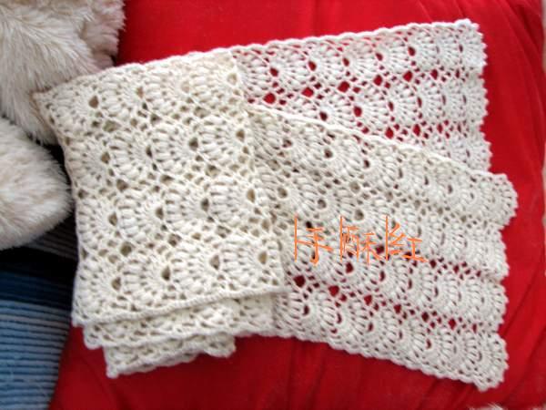 羊毛围巾,细线半J