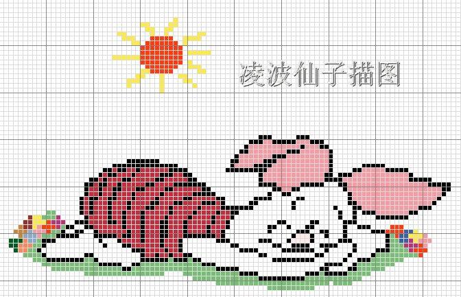 小猪,边上的小花因为看不清,是我乱画的,MM可以自己挑喜欢的颜色,自己做几朵小花上去。