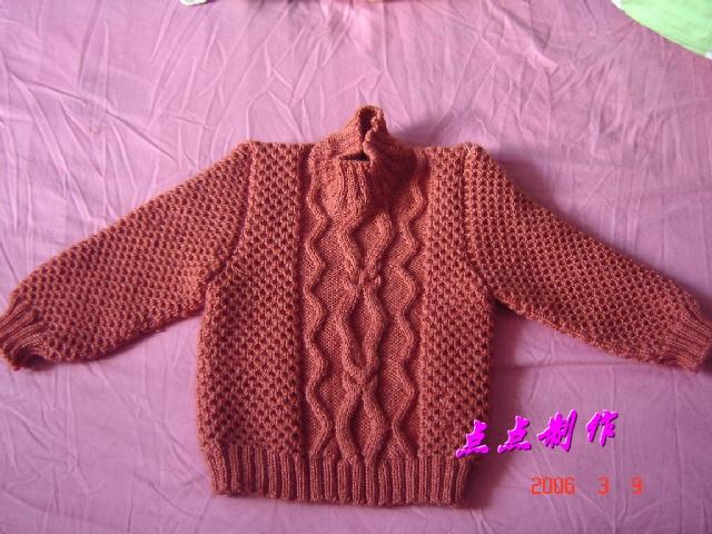 用这种方法织成袖子结合后的毛衣