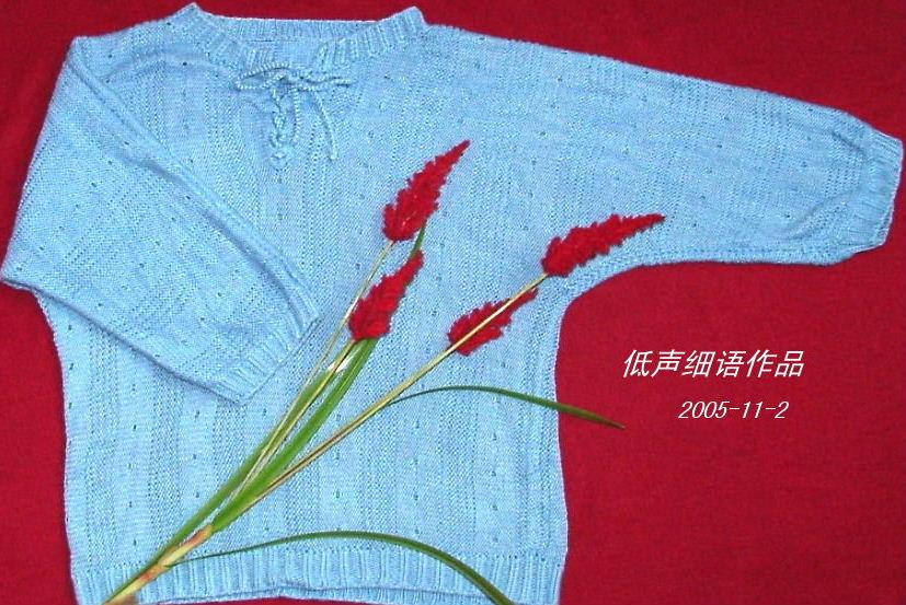 给妈妈织的中袖衫(是横着织的)