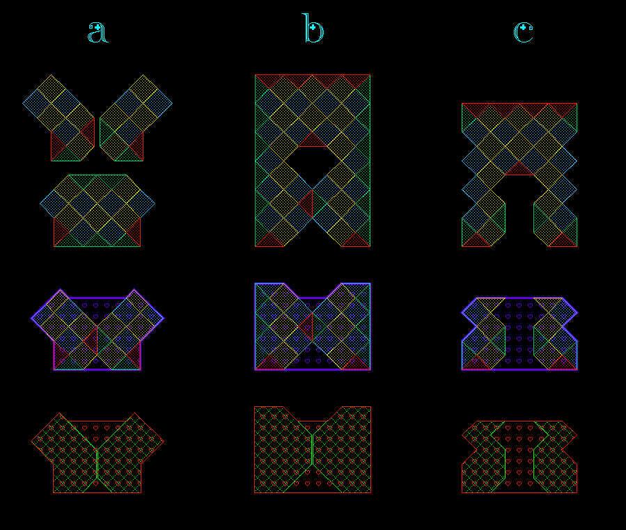a列图是织女星的一件小绿衣服的图解,我觉得跟这件小衣服比较像,所以就借用了;b列图是zxffangzi画的图解