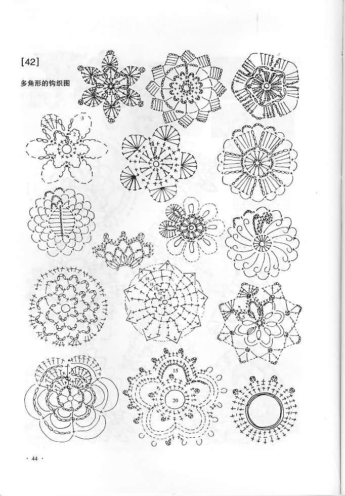 这张图全是立体花,你可以找一个类似的来钩。我觉得左下角的那个花很像。你觉得呢?