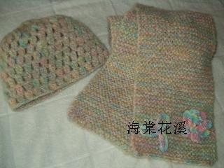 杂色围巾帽子套装(立体花).JPG