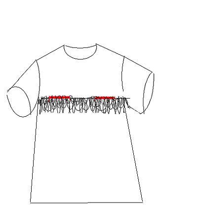 这是我曾给同事用棉布做的哺乳衫的一个草图