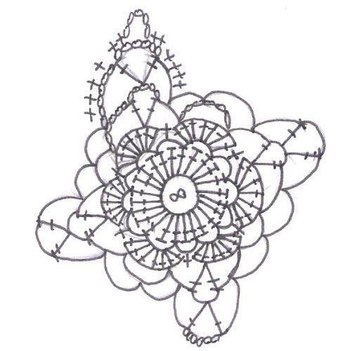这是织女星的花样图,我织的线太,细,所以省掉了外圈的短针,还有因为线细的缘故,每一条辫子我都加了一针