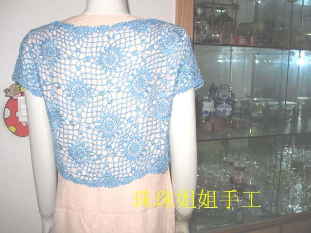 蓝菊花小衫后面效果图