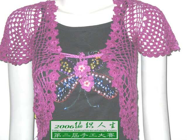 玫瑰红小衣衣细部效果图,吊带衫的珠绣与牛仔短裤也是我的作品哟~~